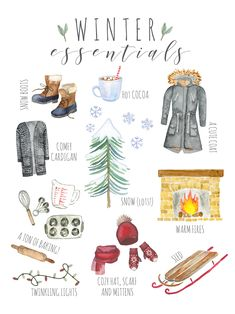 Welcome the beautiful snowy season with this Winter Essentials printable art. #winter #Printable #art