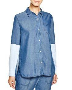 Vince Color Block Chambray Shirt | Bloomingdale's