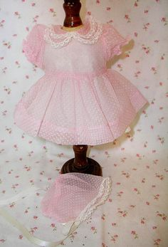 "1950's Girl Doll Pink Organdy Dotted Swiss Dress and Bonnet fits 13"" to 16"""