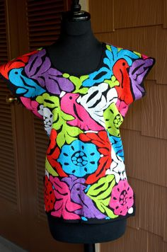 Vibrant Mexican Multicolor Embroidered Blouse / by Vtgantiques