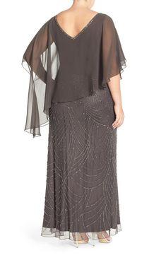 d2516b129ad3 J Kara Chiffon Overlay Embellished Long Dress (Plus Size) | Nordstrom