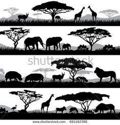 Wild african life background silhouettes of Vector Image , Africa Silhouette, Elephant Silhouette, Silhouette Images, Animal Silhouette, Black Silhouette, Afrika Tattoos, African Tree, Gravure Laser, Animal Stencil