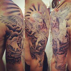 St Michael tattoo halfsleeve archangel saint michael