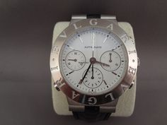 Bulgari Diagono Chrono Rattrapante white gold $12,913 #Leather #chronograph #watch #Men's watch #Unisex
