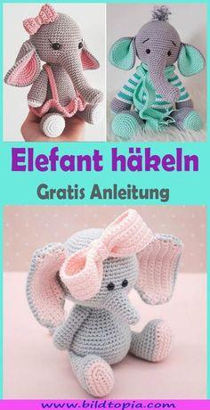 Elefant häkeln – kostenlose & einfache DIY AnleitungDo you want to crochet a cute amigurumi elephant? In this free DIY tutorial, I will show you how you can easily crochet a magical elephant yourself. Amigurumi elephants are ideal as a cuddly toy, l Knitting Projects, Crochet Projects, Knitting Patterns, Crochet Patterns, Blanket Patterns, Knitting Ideas, Diy Simple, Easy Diy, Crochet Hooks