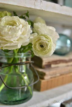White flowers in jar, farm house charm Flowers In Jars, Cut Flowers, White Flowers, Vintage Farmhouse, Farmhouse Decor, Farmhouse Style, Pretty Images, Ranunculus, Topiary