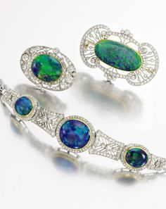 The Opal Jewels of the Prince of Siam. Opal and diamond bracelet, circa 1910.