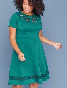 55c1f251563 Lane Bryant Scuba Fit   Flare Dress with Lace Plus Size Fashion For Women