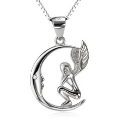 *** Buy 2 Items Get 1 Free *** ***FREE FAST SHIPPING***(usually delivered within 48h-72h) Get this awesome Silver Silver Moon Angel Floating Pendantnow! Mate