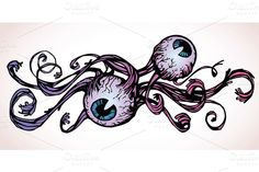 Check out Tattoo-style Horrible Eyes by LEKS illustrations on Creative Market
