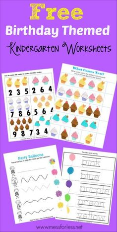 Free kindergarten worksheets with a birthday theme. Perfect for kids celebarting a birthday or for a birthday theme or unit. Preschool Birthday, Classroom Birthday, Birthday Activities, Preschool Learning Activities, Preschool Themes, Craft Activities For Kids, Fun Learning, Preschool Cooking, Birthday Games