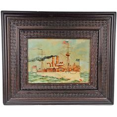 Deeply Layered Tramp Art Frame w Patriotic Currier & Ives Print | From a unique collection of antique and modern frames at https://www.1stdibs.com/furniture/wall-decorations/frames/