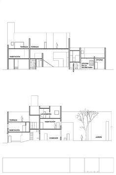 Casa Estudio Luis Barragán, planos de sección. Foto: Casa Luis Barragán.