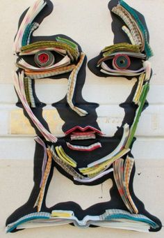 Sculpture by Nick Georgiou. Use magazines and newspaper to create portrait sculpture.