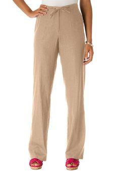 Jessica London Women's Plus Size Tall Linen Pants With Drawstring Waist New