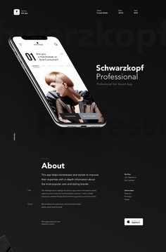 This app helps hairdressers and stylists to improve their expertise with in-depth information about the most popular care and styling brands. App Ui Design, Interface Design, Page Design, Website Design Inspiration, Ui Inspiration, Typography Inspiration, App Promotion, Presentation Layout, Ui Web