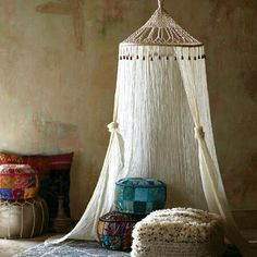 Boho Sheer Cotton Macrame Canopy | World Market
