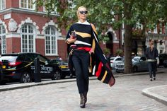 Jolts of colour liven up an all-black ensemble at London Fashion Week
