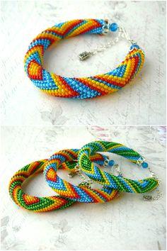 Beaded rope bracelet - Crochet bracelet - Seed beads bracelet - geometry pattern - Beaded jewelry by HandMadeInUa on Etsy