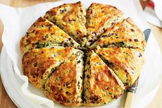 Serve your afternoon tea guests with a slice of this pizza damper filled with cheese, olives and salami. Makes a great lunch box item. Pizza Recipes, Bread Recipes, Cooking Recipes, Savoury Recipes, Easy Cooking, Lunch Recipes, Delicious Recipes, Vegetarian Recipes, Yummy Food