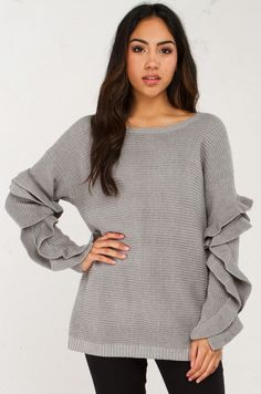 All FrillsCozy Sweater With Ruffled Sleeves in Grey  (Get the Look at www.shopakira.com)  #Dresses #Sweater #Jackets #OOTD #OOTN #Tops #Chokers #outfits #Heels #bodysuit #Sandals #Sneakers #WinterFashion #Style #Fashion #ShopAkira