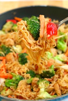 This easy Ramen Noodle Chicken Stir Fry recipe is a perfect dinner for busy weeknights. It's tossed in a flavorful peanut sauce and is easy to customize with whatever vegetables you have on hand! Ramen Noodle Chicken Stir Fry, Best Ramen Noodles, Ramen Noodle Recipes, Oriental Ramen Noodles Recipe, Asian Recipes, Real Food Recipes, Chicken Recipes, Cooking Recipes, Healthy Recipes