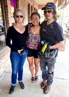 Melissa McBride and Norman Reedus with a fan in GA, 24 July 2015