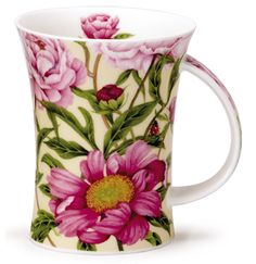 Dunoon - Fine Bone China Mugs - Richmond Shape : Paeonia Cream