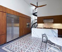 Patterned tile floor in the kitchen