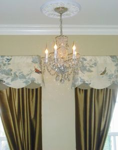 Chinoiserie inspired valances with chestnut silk panels for window treatments