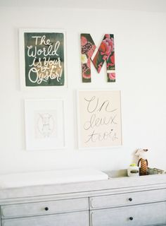 Fun wall: http://www.stylemepretty.com/living/2015/02/28/our-favorite-nurseries-inspired-by-jessica-biels-pregnancy/