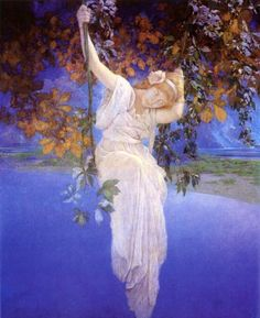 """Maxfield Parrish  was an American painter and illustrator active in the first half of the twentieth century. He is known for his distinctive saturated hues and idealized neo-classical imagery.  This illustration is titled """"Reverie"""""""
