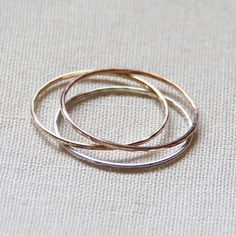 Three SOLID 14k Gold Rings - Rose Gold - White Gold - Yellow Gold - Hammered Stack Rings   Mary John