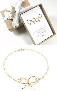 Gold bow bracelete - Great for a bridesmaids gift
