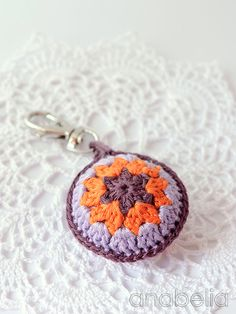 Crochet accent for bags by Anabelia Cute zipper pull or key ring
