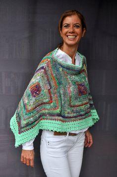 Exclusive wool and cotton crochet poncho / Noro by SophieCRO Cotton Crochet, Crochet Poncho, Crochet Stitches, Crochet Patterns, Bolero Pattern, Unique Crochet, Crochet Cactus, Poncho Shawl, Crochet Instructions