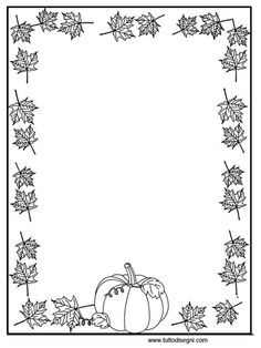 cornicetta-zucca-foglie2 Fall Coloring Sheets, Coloring Books, Coloring Pages, Fall Crafts For Kids, Diy And Crafts, Stationary Printable Free, Halloween Crafts, Halloween Decorations, Quiet Book Templates
