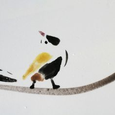 Ceramic tile, lonely bird, rare few brush strokes create dreamy atmosphere. One of a kind holiday gift