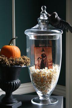 cheap apothecary filler and cute pumpkin in urn idea