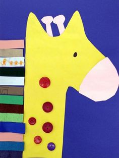 Kindergarten - Texture Giraffe - Construction paper, leather, ribbon, sandpaper, felt, foam, and buttons.