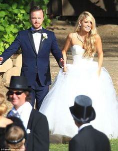 The happy couple! Aaron and Lauren emerge in their wedding attire after tying the knot