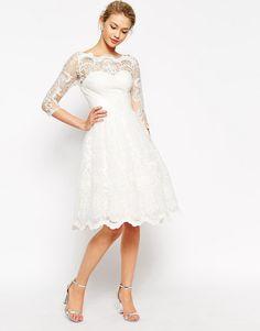 Chi Chi London Premium Lace Midi Prom Dress with Bardot Neck and 3/4 Sleeve