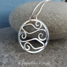 Sterling Silver Swirl Circle Pendant - TWO FISHES - Pisces Zodiac Necklace £38.00