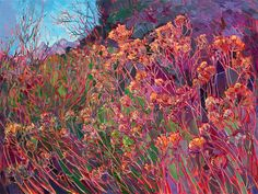 Wildflowers at Canyonlands National Park, painted in vibrant oils by Erin Hanson. Canyonlands National Park is captured in abstracted color by artist Erin Hanson. The dusky-colored wildflowers stand in groves of color, forming stained glass shapes with t Erin Hanson, Landscape Art, Landscape Paintings, Oil Paintings, Monet, Modern Impressionism, Artist Gallery, All Art, Les Oeuvres