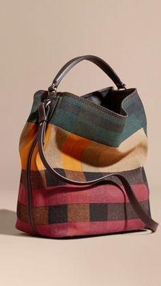 Burberry The Medium Ashby In Printed Canvas Check And Leather In Multicolour Burberry Handbags, Prada Handbags, Leather Handbags, Burberry Bags, Burberry Makeup, Fashion Bags, Fashion Accessories, Leather Accessories, Emo Fashion