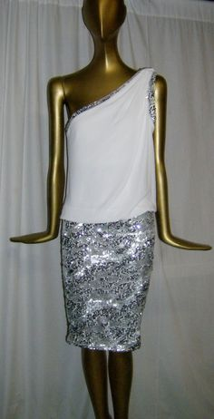 GORGEOUS NEW CACHE ONE-SHOULDER DRESS 12   NWT ($188 Retail) Sequinned #Cache #Cocktail