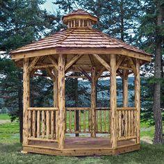 Rustic Log Gazebo by Montana Woodworks   Outdoor & Patio Log Furniture