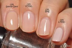 Neutral nail colors : OPI Samoan Sand, OPI You Callin' Me a Lyre?, OPI Barre My Soul, OPI Let Them Eat Rice Cake