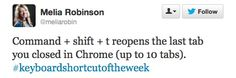 That's for Mac users.  If you're on a PC, it's Ctrl+Shift+T. Works in Firefox and Internet Explorer, too.