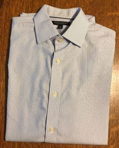 cb9a99f3a8d1b Banana Republic L S Button Shirt Tailored Slim Fit Non Iron Blue Striped Sz  S